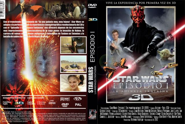 Star Wars Episodio I La Amenaza Fantasma 3d 2012 Custom Por Jonander1 - dvd